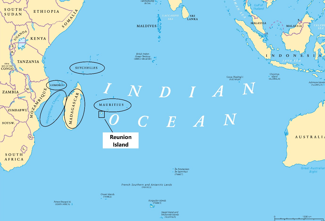 Map of Indian Ocean Commission